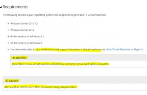 Hyper-V 2012 R2 now supporting Generation 2 Linux VM's!!!