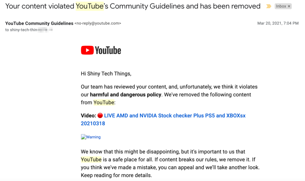 Your content violated YouTube's Community Guidelines and has been removed